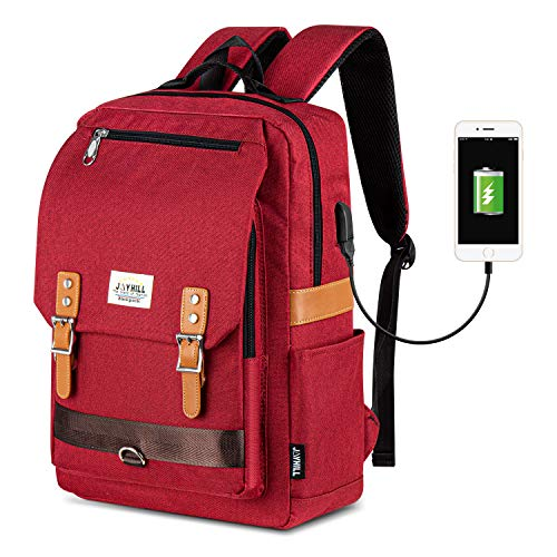 Laptop Backpack Women, Vintage Waterproof College School Backpack with USB Charging Port Bookbag Fit 15.6 Inch Laptop for Girls Wine Red
