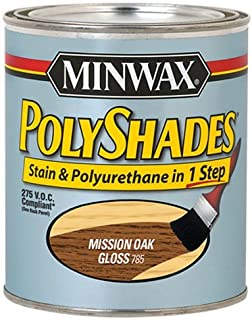 Minwax 217854444 Polyshades - Stain & Polyurethane in 1 Step, 275 VOC, 1/2 pint, Mission Oak, Gloss