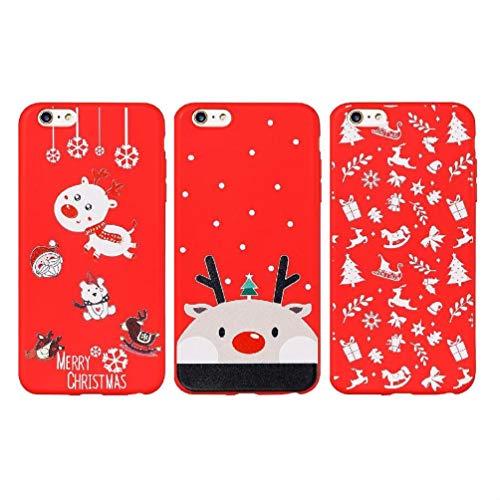 ToneSun Funda para iPhone 6 Plus, iPhone 6S Plus, 3 fundas de silicona TPU, funda para teléfono móvil: carcasa de silicona suave TPU, carcasa trasera – alce, elce, artículo de Navidad