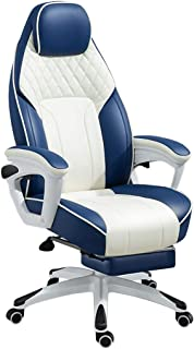 AOLI Presidente de juego - sillas ergonómicas del Ministerio del Interior - cuero ajustable respaldo alto giratorio de la PU Silla de escritorio Racing ordenador con soporte lumbar y reposacabezas (a