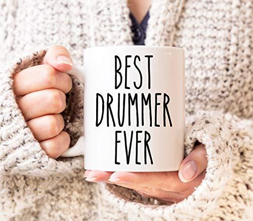 DKISEE Weiße Kaffeetasse, 425 ml, beste Schlagzeug-Tasse, Schlagzeug-Tasse, Geschenk für Ehemann, Geschenk für Musiker, Schlagzeuger, Teetasse