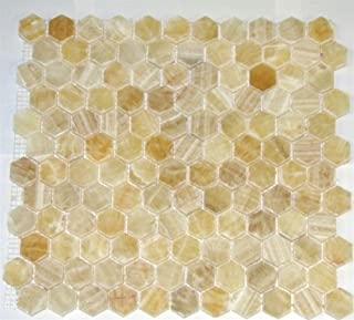 Honey Onyx Hexagon Pattern Polished Mosaics Meshed on 12