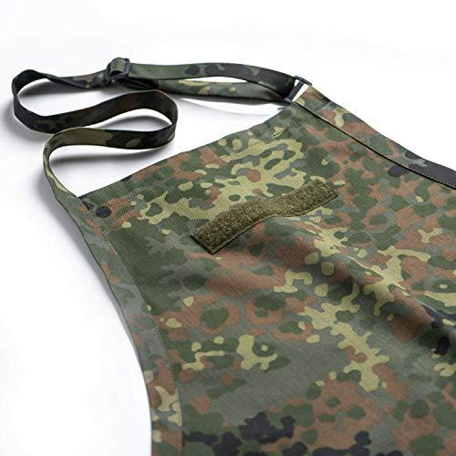 FLECKTEX® Camouflage GRILLSCHÜRZE Küchenschürze Premium Apron Männer Vater Geschenk zum Grillen mit KLETTSTREIFEN für Namensschild