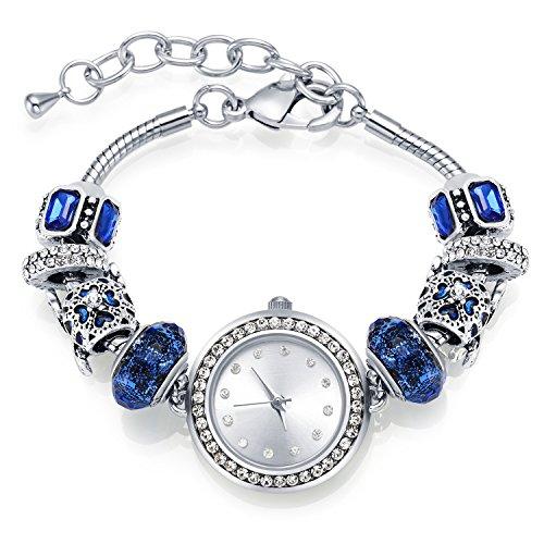MANBARA Reloj Mujer Místico Galaxia Universo Media Luna con Estrellas Cristal Swarovski Charms Plata Pulseras Reloj