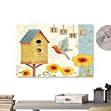 """Andrea Sam Decorative Music Urban Graffiti Art Print Watercolor Pattern with Bird, Birdhouse, (1) 36""""x32"""" Home Decorations Modern Stretched and Artwork"""