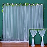 White Sheer Backdrop Curtains for Parties Tulle Backdrop Drapes for Wedding Ceremony Baby Shower Birthday Party Photo Background Home Window Decorations 2 Panels 5 ft X 8 ft