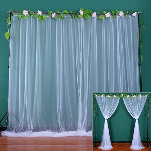 White Sheer Backdrop Curtains for Parties Tulle Backdrop Drapes for Wedding Ceremony Baby Shower Birthday Party Background Home Decorations 2 Panels 5 ft X 8 ft