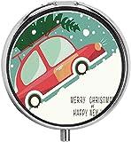Millancty Coche Rojo Viajando por la Colina con Caja de Pastillas de árbol de Navidad Caja de Pastillas de Viaje