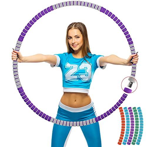 Aionly Hoola Hoop Reifen Erwachsene, Abnehmbarer Edelstahlkern Hullahub Reifen zum Abnehmen (8 Teiliger), Einstellbares Gewichte (1,2kg),Schaumstoff Hullahub Reifen für Yoga、Fitness、Massage (violett)