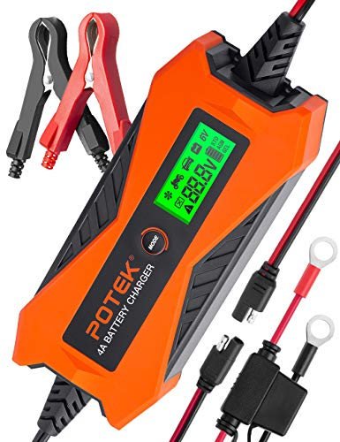 POTEK 6V/12V 4A Smart Car Battery Charger and Maintainer for Car, Motorcycle, RV and More