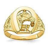 Herradura pulida de oro amarillo de 14 quilates con caballo en anillo central para mujeres