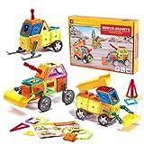 Bloques magnéticos de colores, 162 unidades, bloques de plástico de colores, juguetes de construcción para niños, una gran idea de regalo, pensamiento creativo y destreza.