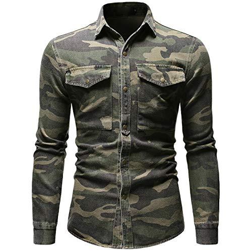 Hemd Frühling Herbst Camouflage Jeanshemd Für Mann Armee Grün Langarm Lose Jeans...
