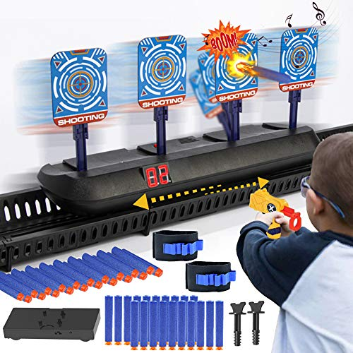 HahaGo Moving Electronic Digital Target for Nerf Guns, Auto-Reset Shooting Targets with Refill Bullets, Running Electric Digital Target with Light & Sound Prompt Automatic Scoring for Kids Game