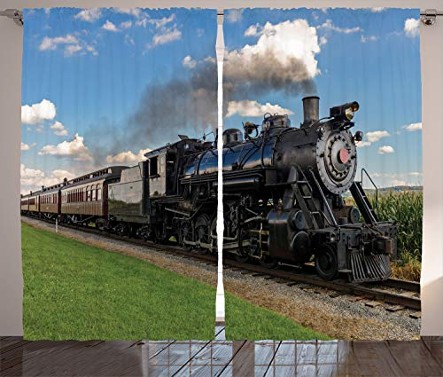 """Ambesonne Steam Engine Curtains, Vintage Locomotive in Countryside Scenery Green Grass Puff Train Picture, Living Room Bedroom Window Drapes 2 Panel Set, 108"""" X 84"""", Blue Green"""