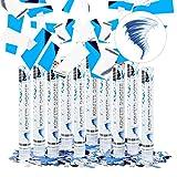 Relaxdays 10er Set Party Popper 40 cm, Blau Silber, 6-8m Effekthöhe, Hochzeit, Geburtstag,...