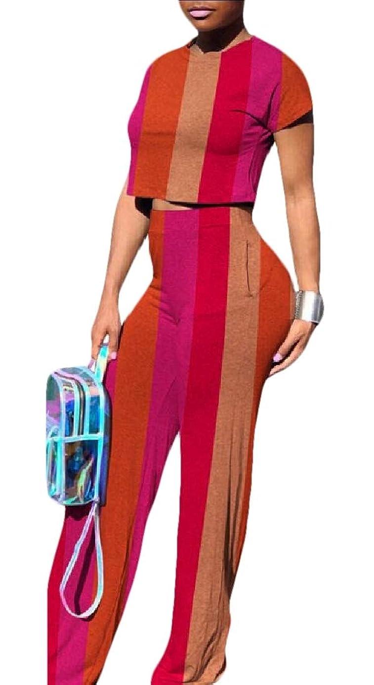 思いやり感度機会女性カジュアルストライプ2ピースジャンプスーツ半袖クロップトップワイドレッグロングパンツセット衣装