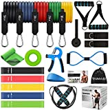 23PCS Resistance Bands Set Workout Bands, 5 Stackable Exercise Bands with Handles, 5 Resistance Loop Bands, Jump Rope, Figure 8 Resistance Band, Hand Grip Strengthener, Headband, Cooling Towel