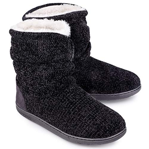 LongBay Women's Chenille Knit Bootie Slippers Cute Plush Fleece Memory Foam House Shoes (Large / 9-10 B(M), Black)