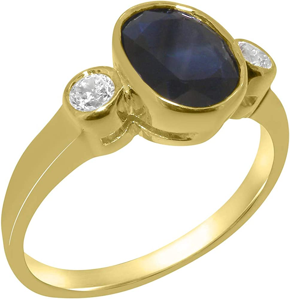 Solid 18k Yellow Gold Natural Sapphire & Diamond Womens Trilogy Ring - Sizes 4 to 12 Available
