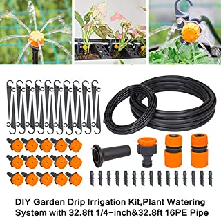 """Garden Adjustable Plant Watering Drip Irrigation Kits with 1/4""""Blank Distribution Tubing Hose 、 1/2"""" PE Hose and All Accessories.Watering System Set for Garden Greenhouse, Flower Bed,Patio,Lawn"""