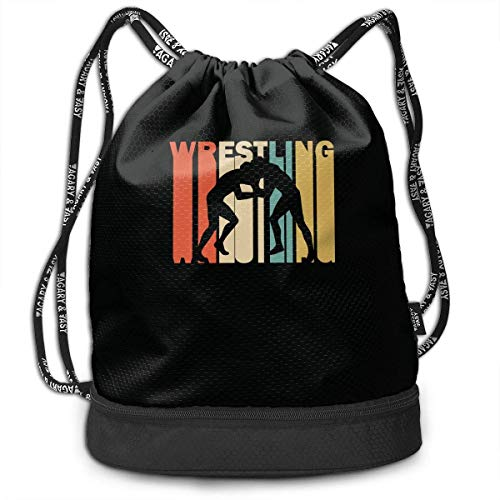 Kordelzug Paket Retro Style Wrestling Silhouette Drawstring Bag For Mens And Womens, 100% Polyester Durable Shoulder Bags
