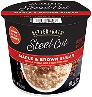 Better Oats Steel Cut Instant Oatmeal Cups, Maple and Brown Sugar, 1.95 Ounce (Pack of 12)
