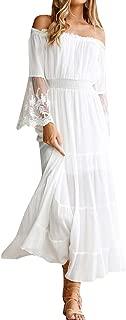 Womens Off Shoulder Maxi Dress Long Sleeve Ruffle Long Dresses Casual Bridesmaid Cocktail Dresses