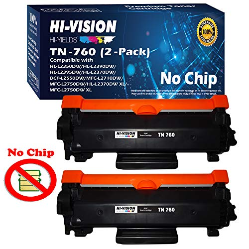 HI-VISION HI-YIELDS Compatible [NO CHIP] TN760 Toner Cartridge Replacement (High Yield) for HL-L2350DW/L2390DW/L2395DW/L2370DW DCP-L2550DW MFC-L2710DWL2750DW HL-L2370DWXL (Black, 2-Pack)