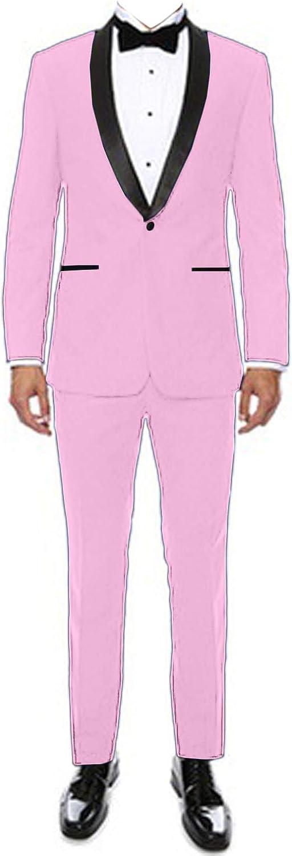 Wemaliyzd Men's 2 Pcs Slim Fit Suit Shawl Lapel Blazer Coat Separate Pants
