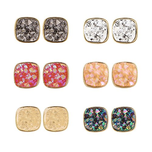 BaubleStar Druzy Stud Earrings Set Pack Gold Delicate Square Resin Mineral Rock Stone Ear Studs Jewelry for Women Girls Teen