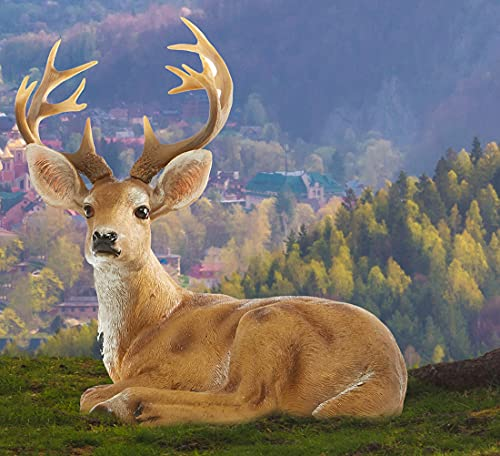XTAPAN 13' Resin Deer Buck Statues Figurine Sculpture Lawn Ornaments Animals Yard Art Garden Statues and Figurines Outdoors Decorations for Home Office Decor Housewarming Birthday Gift