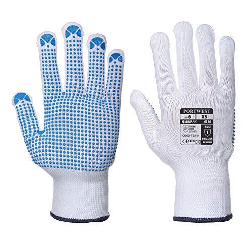 12 Paar Portwest Nylon Polka Dot Arbeit Handschuhe Sicherheit Haftung Gardening DIY A110 (large / 9)