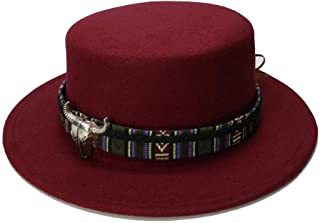 HaiNing Zheng Retro Kid Vintage Wool Wide Brim Cap Pork Pie Porkpie Bowler Hat Solid Coffee Leather Band(54cm/Adjusted)