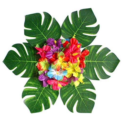 54 piezas de suministros de decoración para fiestas tropicales, hojas de palmera tropical, flores de hibisco, simulación artificial, hoja artificial para hawaiano, luau, safari, selva, cumpleaños
