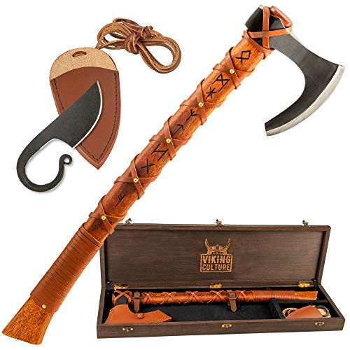 Viking Culture Viking Battle Axe | Hand-Engraved Runes and Celtic Ring Knife, The Skeggøx Set | Authentic Hand-Forged | Hardened Blades with Genuine Leather Sheath and Pouch