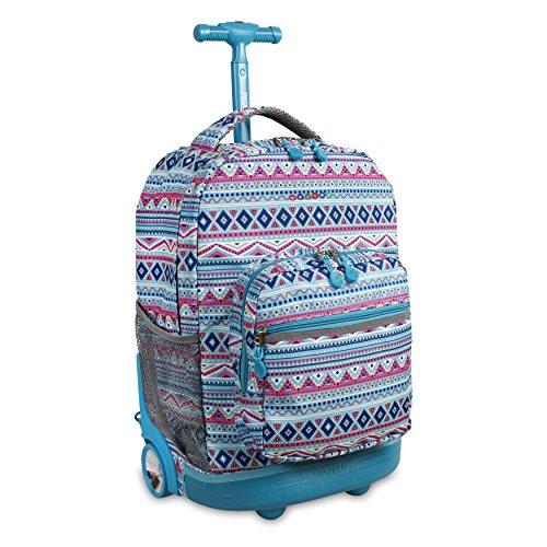 J World New York Sunrise Rolling Backpack Backpack, MINT TRIBAL