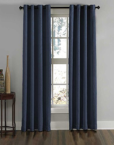 "Curtainworks 1Q806308NY Lenox Grommet Curtain Panel, 50 by 108"", Navy"