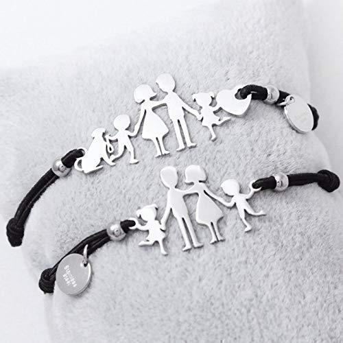 Bracciale famiglia family elastico con sagoma famiglia in acciaio inossidabile, regolabile. Handmade, realizzato a mano,