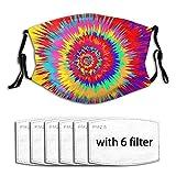 Cubierta de boca antipolvo con 6 filtros coloridos en espiral abstracto tinte negro resistente al viento ajustable para adultos y niños