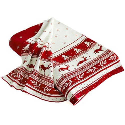 casa pura Wohndecke Matilda mit Norweger Muster | schadstoffgeprüft | kuschelige Decke aus Baumwolle | Größe wählbar (150x200 cm) Baumwolldecke - Kuscheldecke