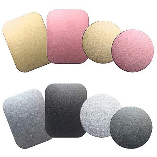 SENHAI 8 piezas de soporte para teléfono de coche placa de metal con adhesivo para soporte magnético sin cuna, 4 rectangulares y 4 redondos, negro, plata, oro, rosa rojo
