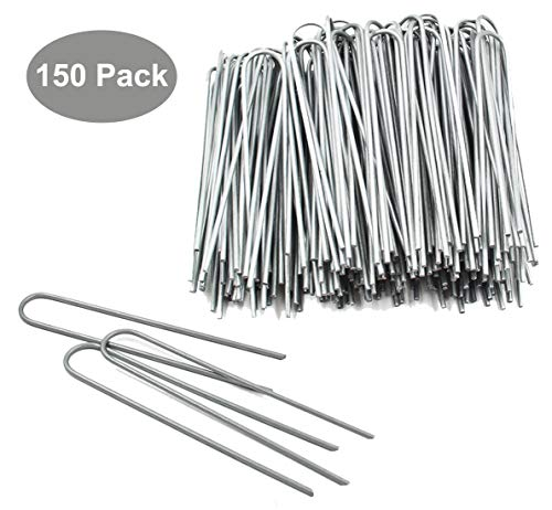 TQVAI 150 Pack 6 Inch Galvanized Garden Landscape Stakes for Weed Barrier Fabric, Ground Cover, Sod, Fence, Stake Soaker Hose, Lawn Drippers