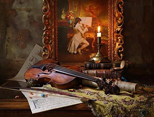 Decorsy Legpuzzel 1000 Stukjes Schilderij Viool Muziekinstrument Houten Puzzel Formaat 75X50Cm Leuk Educatief Speelgoed Voor Kinderen