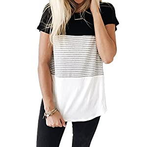 Fashion Shopping YunJey Round Neck Triple Color Block Stripe T-Shirt
