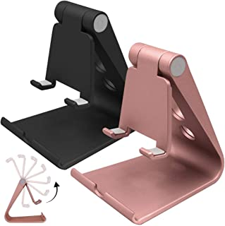 2 Packs Multi-Angle Adjustable Cell Phone Stand, SourceTon Portable Sturdy Plastic Desk Stand Mount Fits All Smart Phones ...