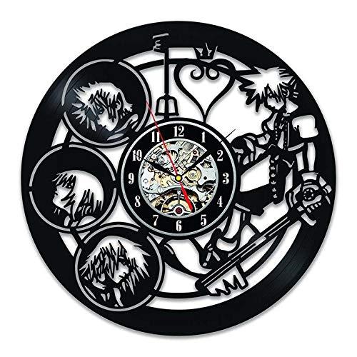 HGXHG Kingdom Hearts Character 3D Reloj de Registro Decorativo Hueco Creativo Vinyl Record Art Deco Reloj de Pared Reloj Antiguo