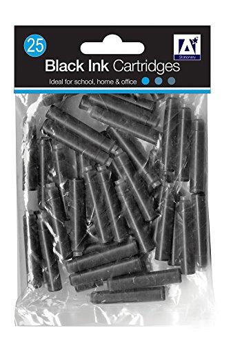 25 x Standard Größe universal schwarz Füllfederhalter Tintenpatrone Nachfüller