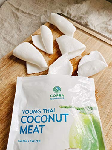 Frozen Young Thai Coconut Meat | Naturally Fueling Sports Snack | Certified Organic and Kosher | Vegan and Plant-Based