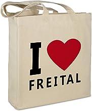 """Stofftasche mit Stadt/Ort """"Freital """" - Motiv I Love - Farbe beige - Stoffbeutel, Jutebeutel, Einkaufstasche, Beutel"""